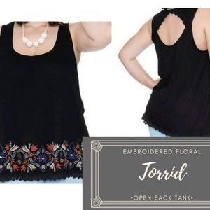 3/$30 Torrid Embroidered Open Back Gauze Tank 0X